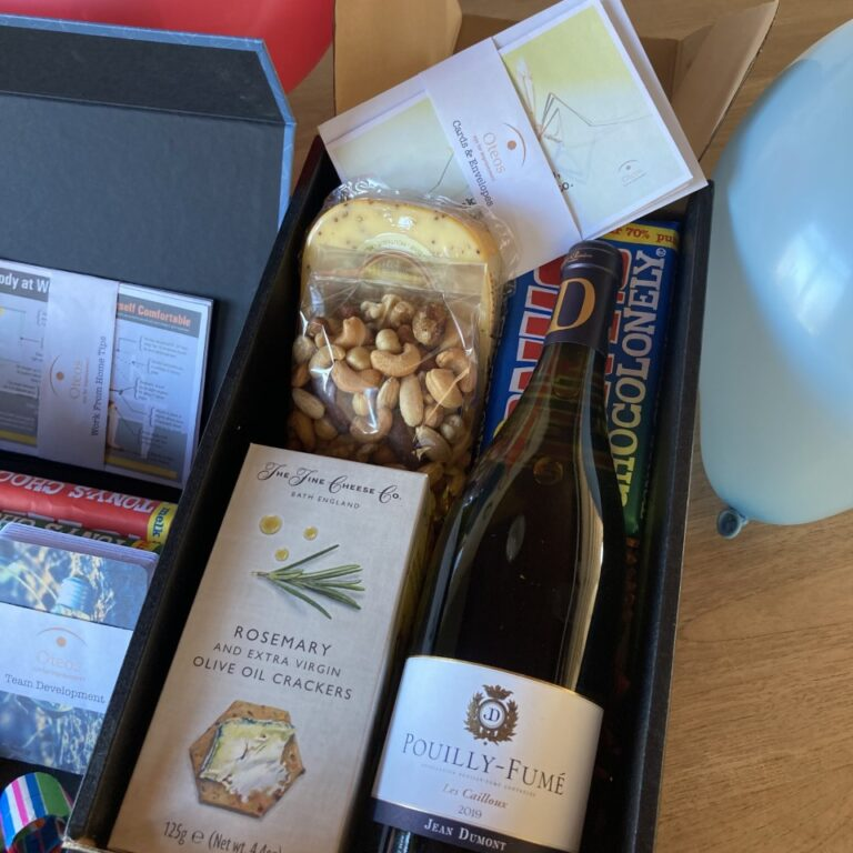 Sample Healthcare gift box luxe wine white fresh nuts cards